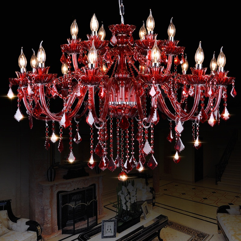 Red Crystal Chandelier: European Luxury K9 Red Crystal Chandeliers For Dining Living Room Lustres  Cristal Led Chandelier Lighting Lamparas,Lighting