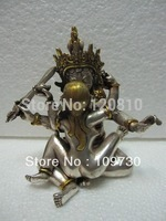 Tibet Silver Gilt Bronze Manjushri Consort Yab-yum Buddha Statue 5.5''