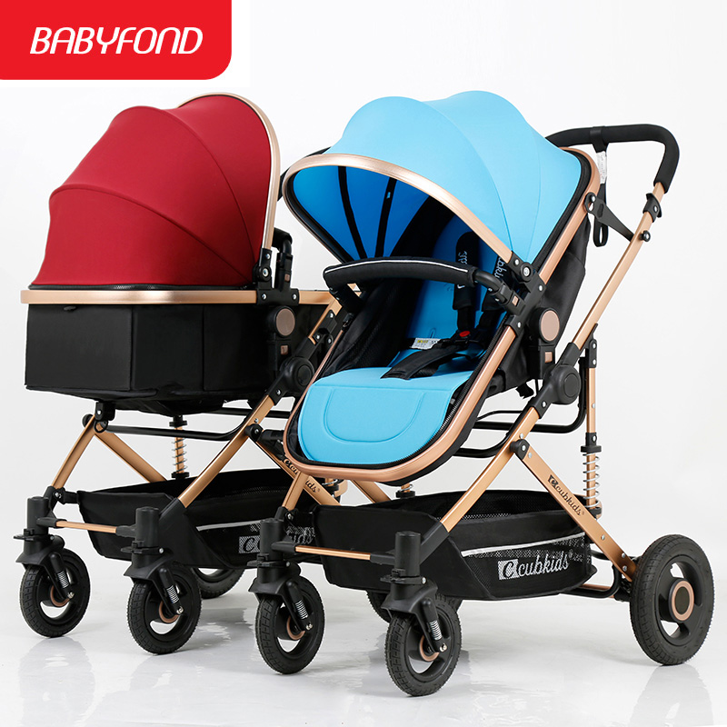 Boy and girls twin strollers can sit and lying trolley could split high landscape lightweight folding double stroller Babyfond