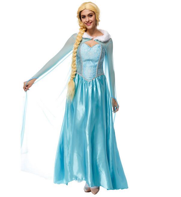 Ensen Princess Anna Elsa Queen Girls anime cosplay Dress sky blue dress Halloween cosplay costumes fantasias feminina para festa