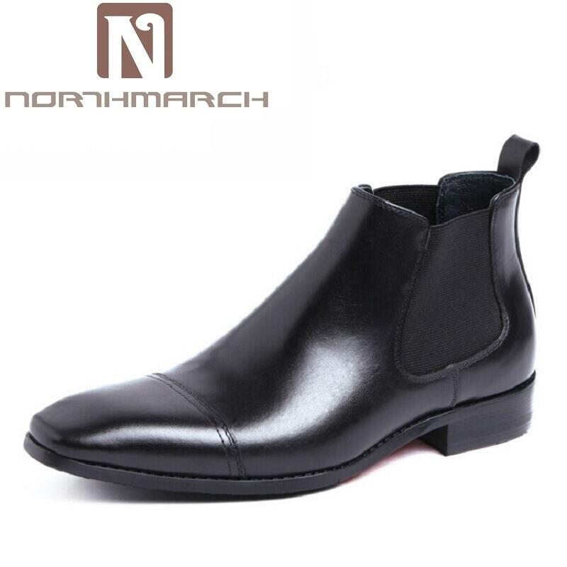 brown Schuhe Winter braun Chelsea Aus Stiefel Northmarch Echtem Botines Leder Schwarz Schwarzes Herren Komfort Stiefeletten Hombre Kleid v4qnax