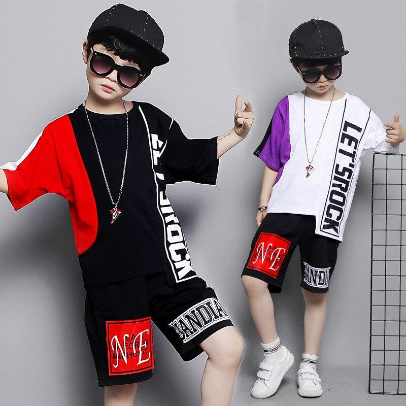 Garçons costume d'été coton deux couleurs couture col rond manches courtes imprimé lettre chemise bande élastique sport pantalon garçons costume