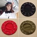 Fashion Women Harujuku Winter Beret Hip Hop Rivet Casual Caps Wool Knitted Hat Punk Clinch Ring Cap Lolita Hat Girl Cap