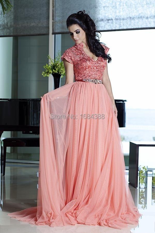 Vestido de noche Fashion A Line Formal Evening Gowns Beaded Sash ...