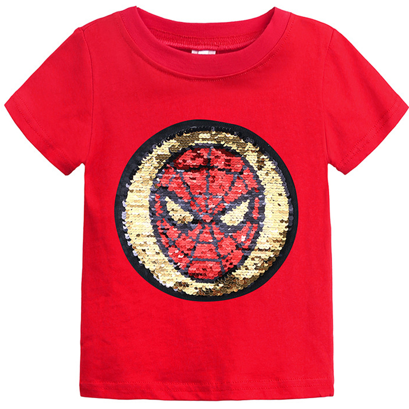 Changing Color And Patter Spiderman Switchable Sequins Boys T-shirts Kid Fashion Marvel Hero T Shirt Children Top Clothes Summer