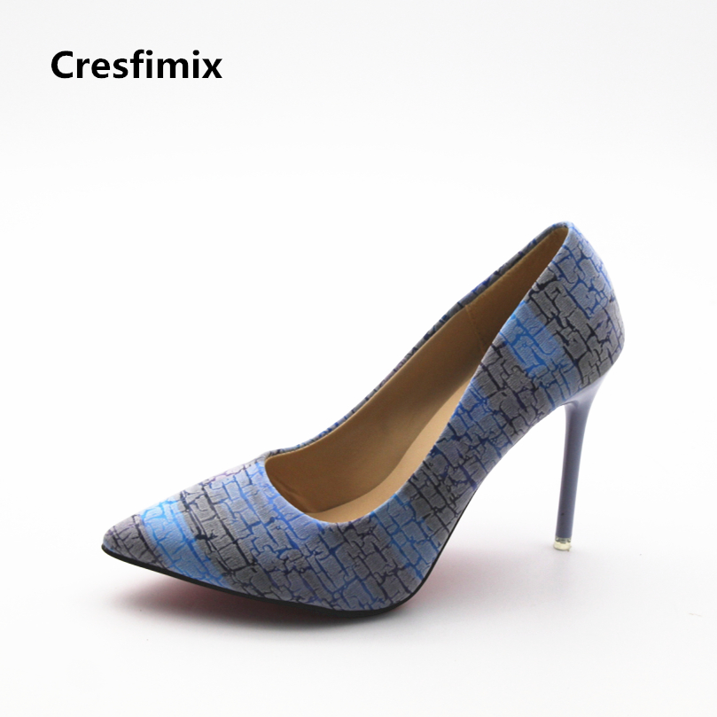 Cresfimix women fashion blue pattern 10cm high heel shoes lady casual pu leather pointed toe high heels female cool & cute pumps cresfimix women fashion