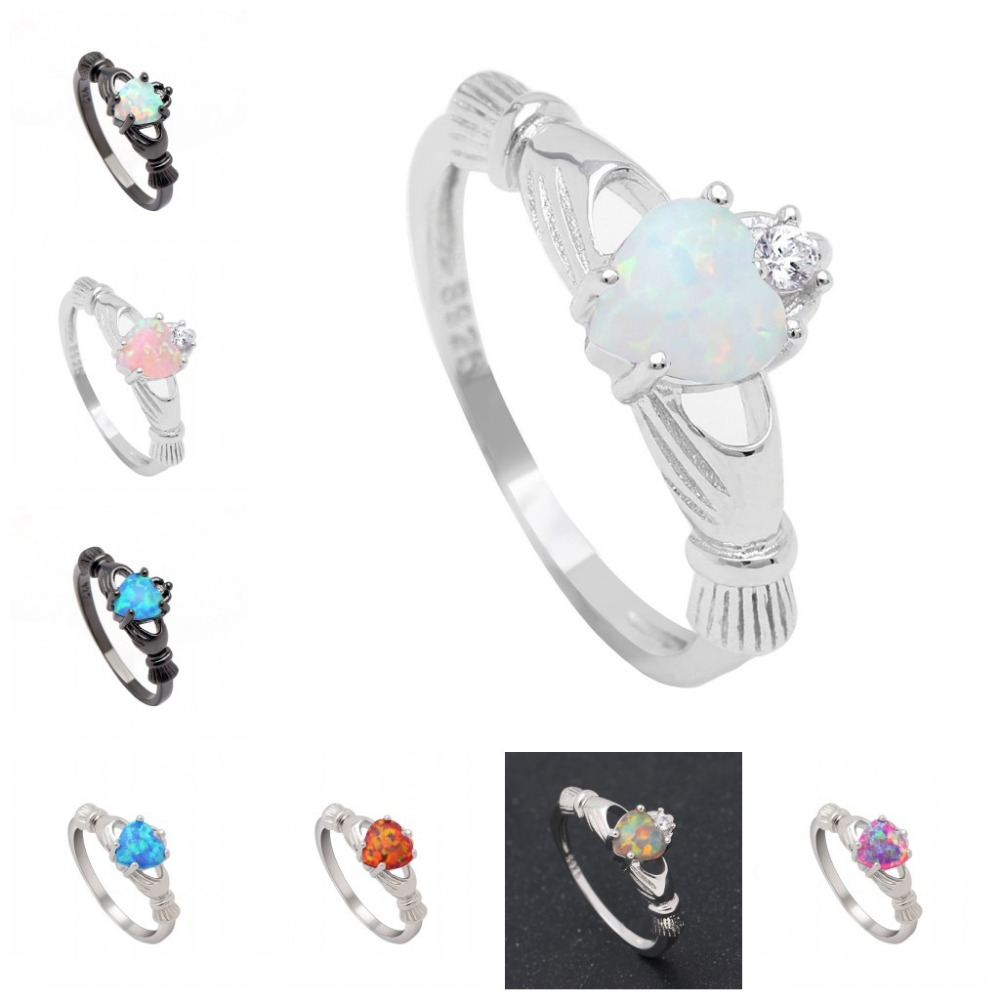 Heart Rainbow Opal Ring Fashion White CZ Wedding Jewelry Fire Black Gold Filled love Engagement Promise Rings Dropshipping