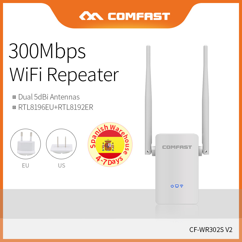 Spain Warehouse COMFAST 300Mbps WiFi Signal Amplifier Extender Wireless Repeater Strength Wifi Booster Point Access CF-WR302SV2