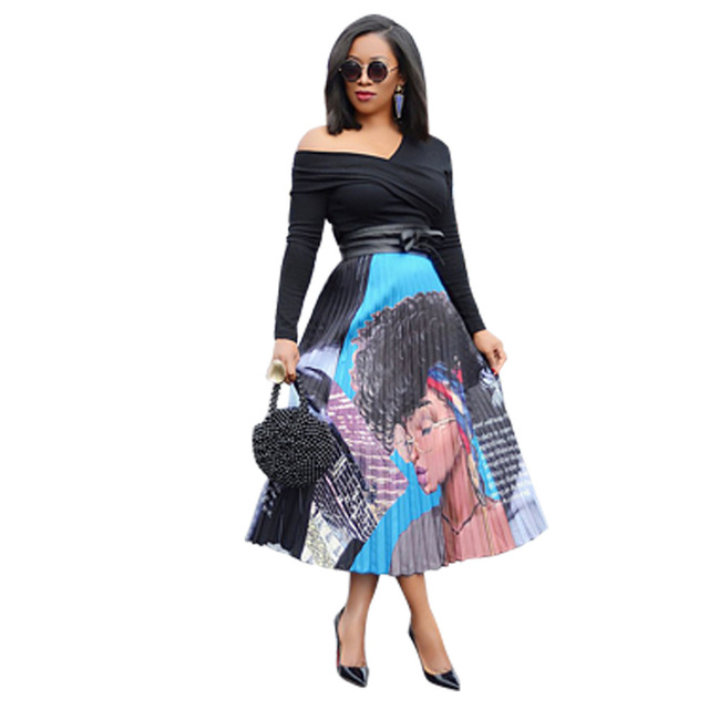 1bcfab6a7c95af Spring Summer Women Skirt Cartoon Print Pleated Long Maxi Skirts Casual  A-line Skirt Plus Size 3XL