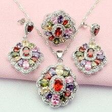 Fashion Mult-Color Stone Silver Jewelry Sets For Women, Drop Earrings, Bracelet, Pendant, Ring