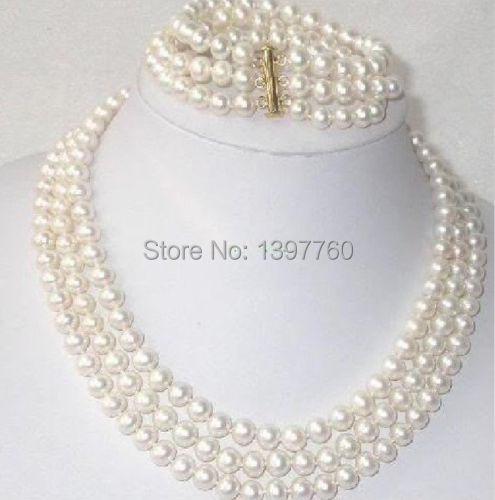 Livraison gratuite Miss charme Jew.88 ensemble triple brins 8-9mm mer du sud collier de perles blanches bracelet 14kgp