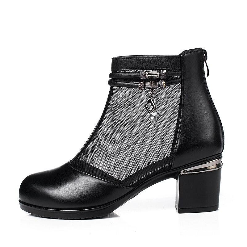 Verano Plus Malla Alto De negro Botas 2018 Tamaño Beige 43 Cuero Tobillo Nuevo marrón Mujer Zapatos Timetang 34 Moda Tacón EwvAOqv