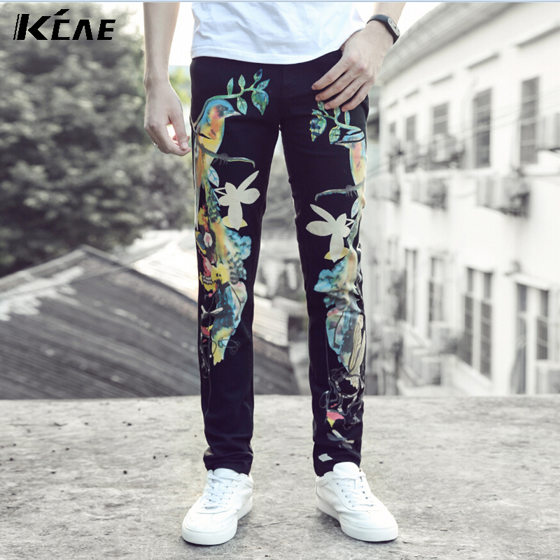 ФОТО New Men's Black Jeans Slim Men's Denim Trousers Represent Pants Male Designer Jeans Men High Quality