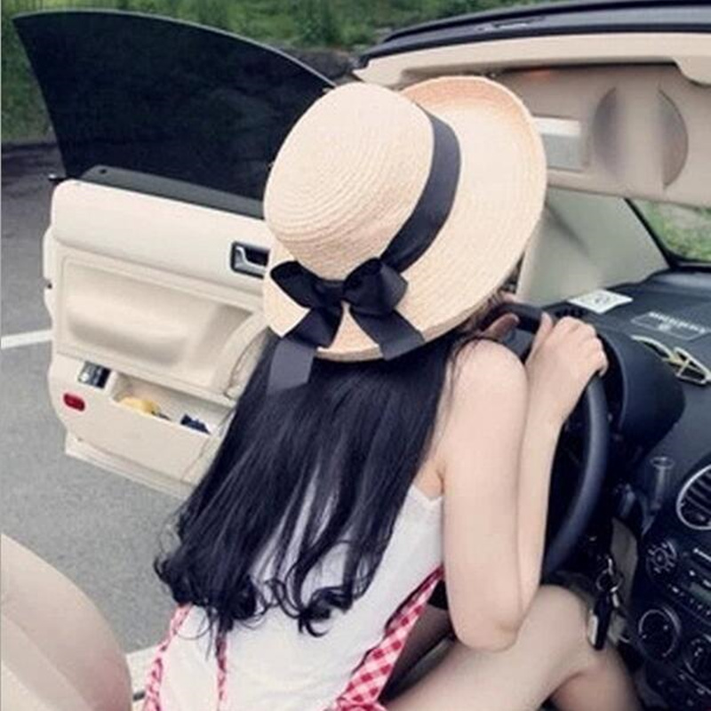 1Pcs Summer New Women's Sun Hat Black Bowknot Ribbon Flanging Straw Hat Beach Caps Head Circumference 56-58cm 3 Colors