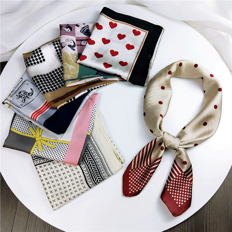 70*70cm High Quality Dot Small Square Scarf Female Love Heart Silk Scarves Decorative Soft Fashion Lovely Scarf Head Wrap