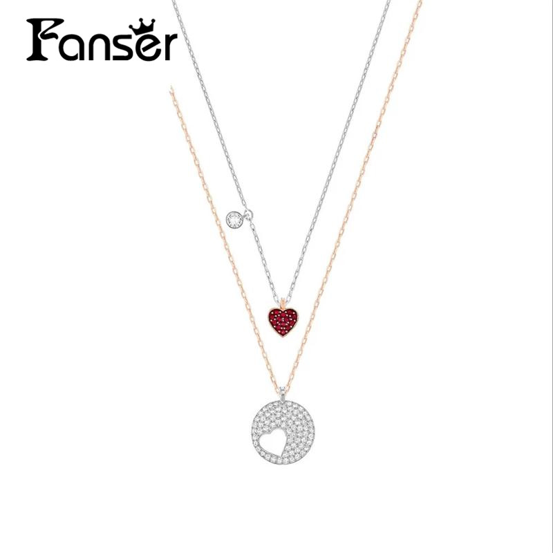 FANSER Heart Chain SWAROSK 100% 925 Sterling Silver Original Copy Has Logo Double Necklace Ladies Beaded Jewelry Free Mail