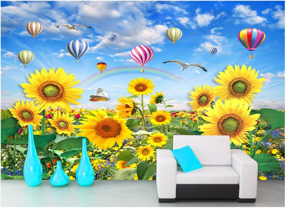 Custom mural 3d wallpaper beauty of sunflower rainbow for Decorative mural painting
