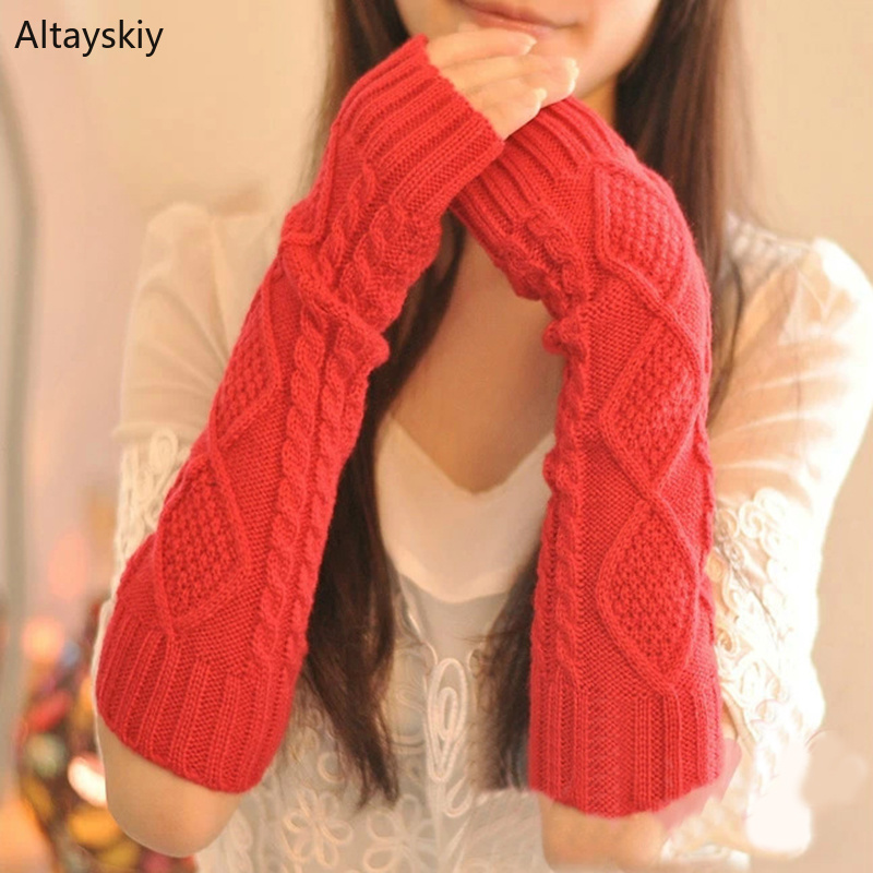 Arm Warmers Women Plaid Twist Knitting Solid Simple Warm Winter Half-fingered Finger-less Womens Mitts Simple Leisure All-match