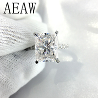 5ct 9x11mm Radiant Excellent Cut Moissanite Engagement Ring Half Eternity Band 10k White Gold For Bridal