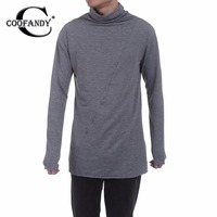 COOFANDY Men Pullover T Shirt Spring Autumn Casual Long Sleeve High Neck Solid Pleated Slim Pleated