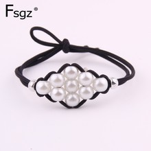 Fashion INS Pearls Gums For Hair Two-in-one Knot Elastic Band Women Knitted Rhombus Ornament Rings Headwear