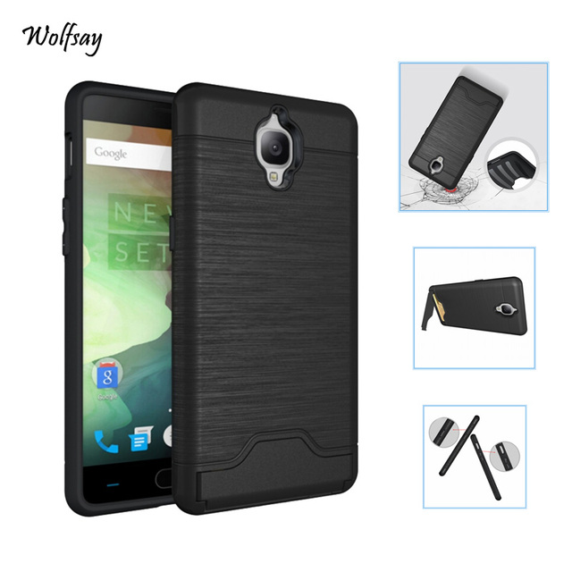 san francisco b6d2b dfa91 US $3.61 15% OFF Wolfsay Case Oneplus 3T Cover Brushed PC + Soft TPU Cover  For Oneplus 3T Case 1+3T One Plus 3T Holder Stand With Card Slot [-in ...