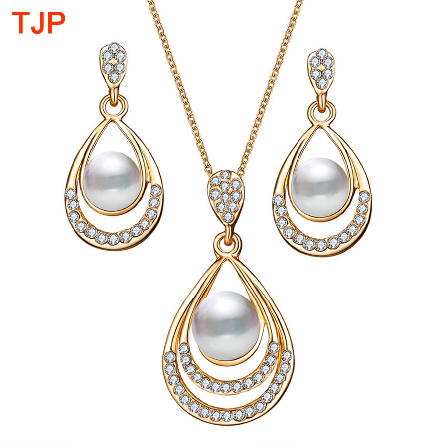 2018 New Trendy Jewelry Sets for Women Gold Color Fake ...