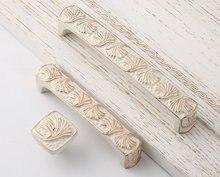 3.75 5 European Modern Ivory White Gold Leaves Drawer Knobs Pulls Chic Kitchen Knob Pull Shabby Cabinet Door Decorative