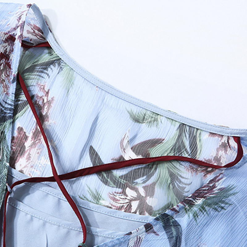 Multi Taille 100 Femmes Deux Profonde Manches Cou Dentelle up Haute Soie Nouveau Ensemble Spring2018 Imprimer Robe Décoration Mode Élastique V Pièces Demi qqxrA1w6En