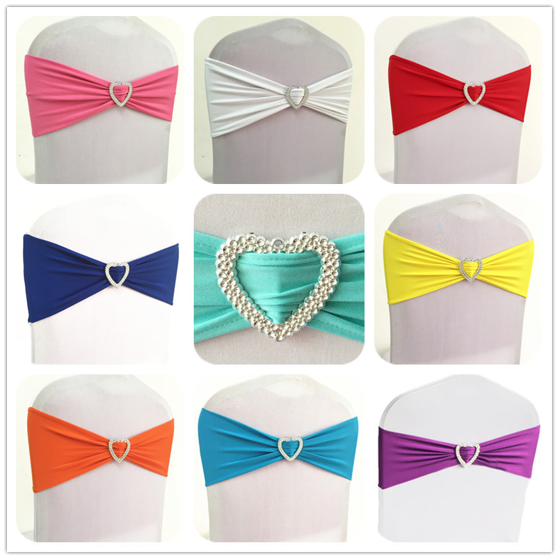 100pcs Elastic Spandex Chair Bow Sash Stretch Lycra Chair Sash Band With Heart Buckle For Banquet