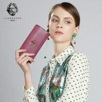 LAORENTOU Ladies Wallet Stylish Long Purse Female Long Clutch Bag Women Cow Leather Card Holder Vintage Long Wallets for Ladies
