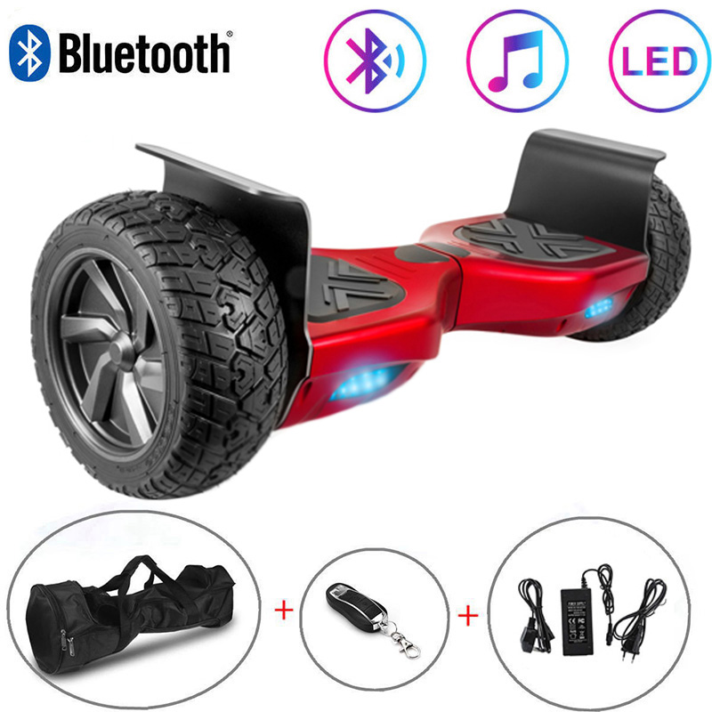 Electric Scooter Red 8.5 Inch Hoverboard Bluetooth All-terrain Self-Balancing Scooter Two Wheels Balance Board Off-road+Key+Bag