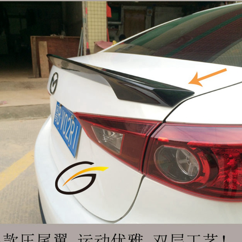 Hot glass fiber Plastic Unpainted Primer Color Rear Trunk Wing Spoiler Car Accessories Fit For Mazda 3 Axela Sedan 4Doors 2014+