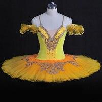 Взрослых серебро вышивка Профессиональный Ballte пачки желтый блин Щелкунчик Балетное платье для девочек балерина Производительность Одежда