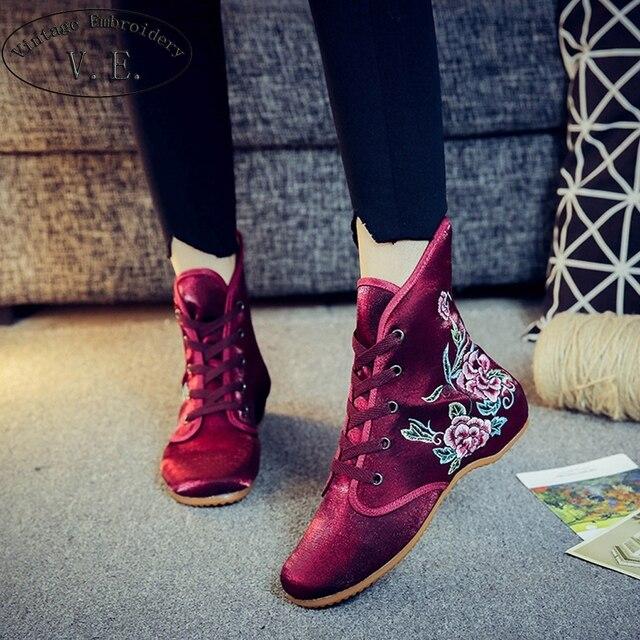 Vintage Stickerei Bota Feminina Damen Casual Stiefeletten Chinesische Ethnische Stickerei Schuhe Frau Silk Satin Lace Up Frauen Wohnungen
