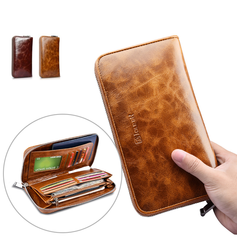 Oil Wax Passport Purse Wallet Case for Iphone 6 6s 7 7 Plus 5.5 Cover for IPhone 5 5S SE Pouch Zipper Bag for Samsung S7 Edge