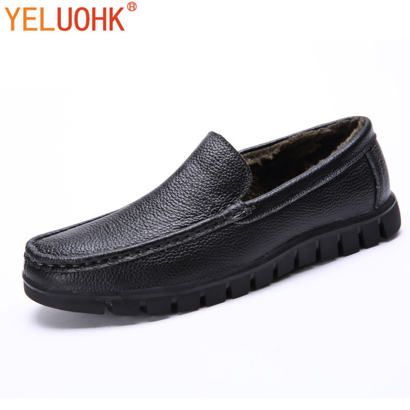 38-47 Genuine Leather Men Shoes Winter Plush Warm Winter Shoes Men Slip On Men Loafers Leather High Quality top brand high quality genuine leather casual men shoes cow suede comfortable loafers soft breathable shoes men flats warm