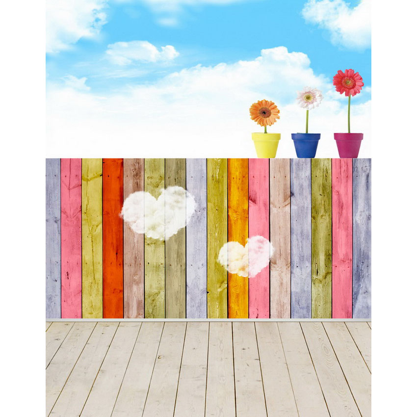 Cloud Flower Colored Wood Backgrounds for sale Vinyl cloth High quality Computer printed newborn baby photo backdrop