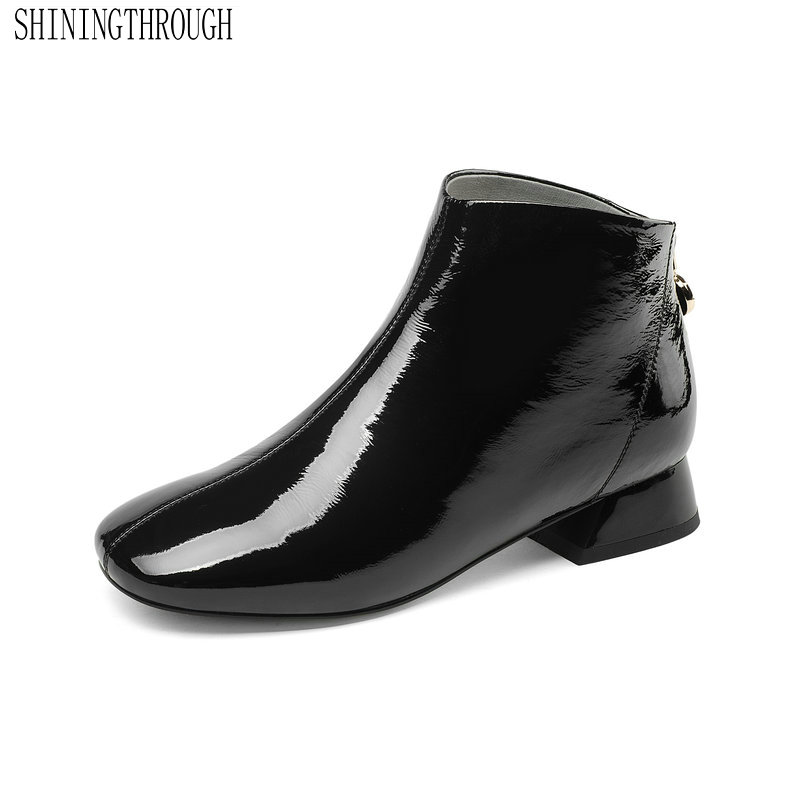 Véritable cuir femmes bottines à fermeture éclair talon bas offre spéciale femmes chaussures printemps automne dames chaussures de fête taille 34-43