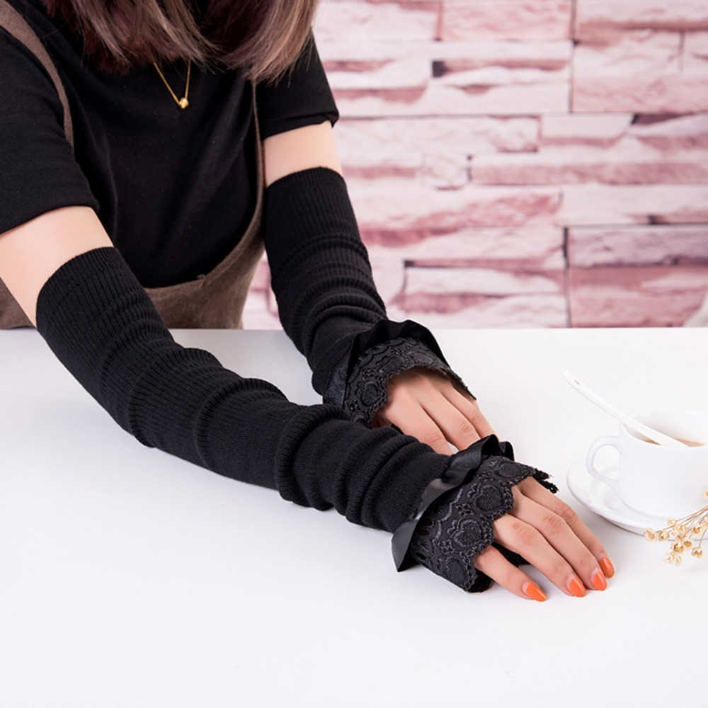 2018 Limited Women Autumn And New Warm Gloves Fashion Trend Female Long Section Cuff For Leather Bow Sets Of Wholesale Hot Sale