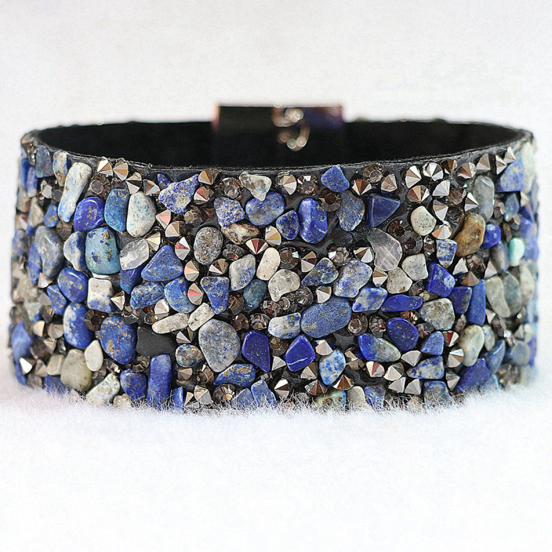 Assorted natural lapis lazuli rhinestone stone wrap bangles bracelets for women free shipping exquisite jewerly 7inch B664-7