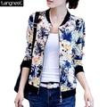 Tangnest ligero chaqueta mujeres 2017 impreso floral del o-cuello capa de la cremallera abrigos outwears casual jaqueta feminina chaquetas wwj332