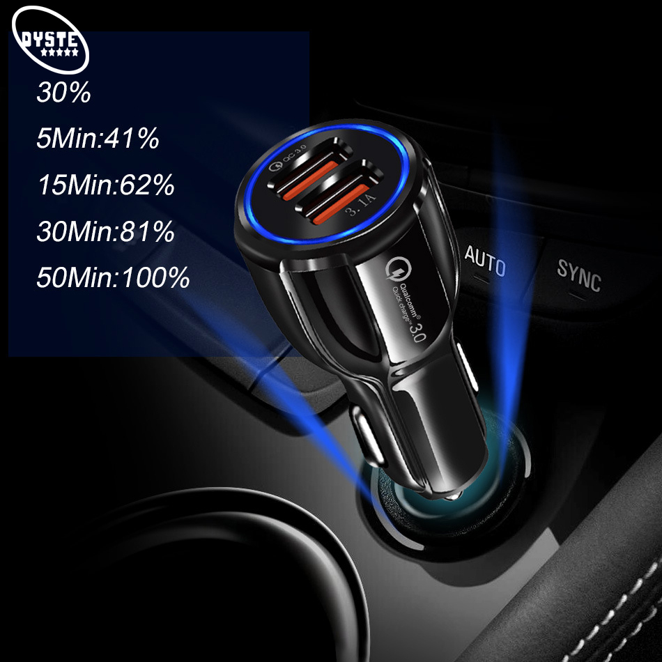 Car USB Charger Quick Charge 3 0 2A 3 1A Voiture Charge Fast Charging Cell Mobile Phone Auto Car Charger For iPhone 6 7 6s ipad in Car Chargers from Cellphones Telecommunications