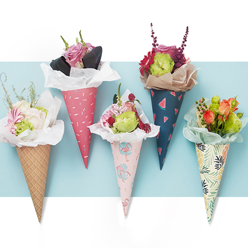 20pcs Gift Ice Cream Cone Flowers Wrapping Paper Packaging Paper Flower Cones Holder Bouquet Wedding Decoration Florist Supplies