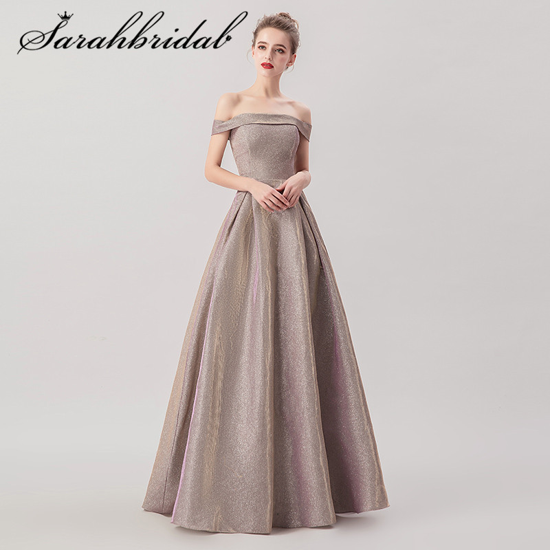 Youth Charming Prom Dresses New Arrivals Boat Neck Reflective Special Fabric Ball Gown Floor Length Evening