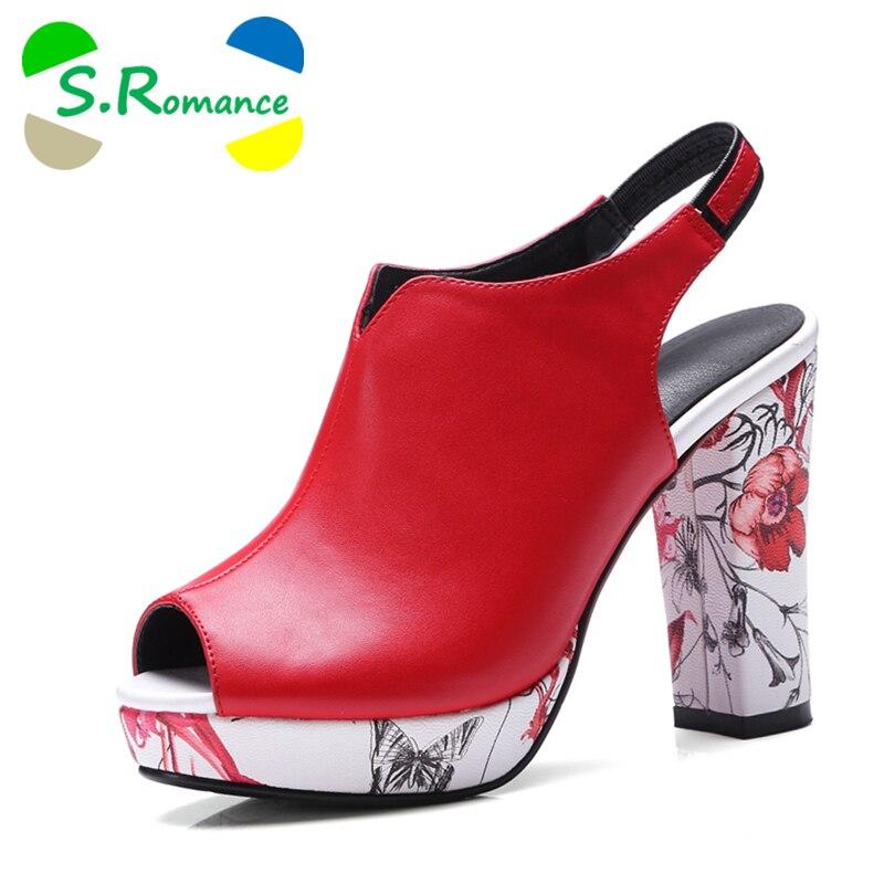 S. الرومانسية النساء الصنادل زائد حجم 32 42 أزياء الصيف عالية الكعب سيدة مضخات منصة زقزقة اصبع القدم امرأة أحذية أسود الأبيض الأحمر SS805-في كعب عالي من أحذية على  مجموعة 1