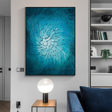 Nordic style blue flower oil paintings on canvas Handpainted Modern abstract Wall art Pictures for living room home decor