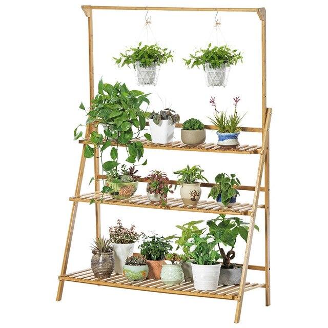 8 1 Best Bamboo Potted Plant Stand Flower Pot Holder Multilayer Indoor