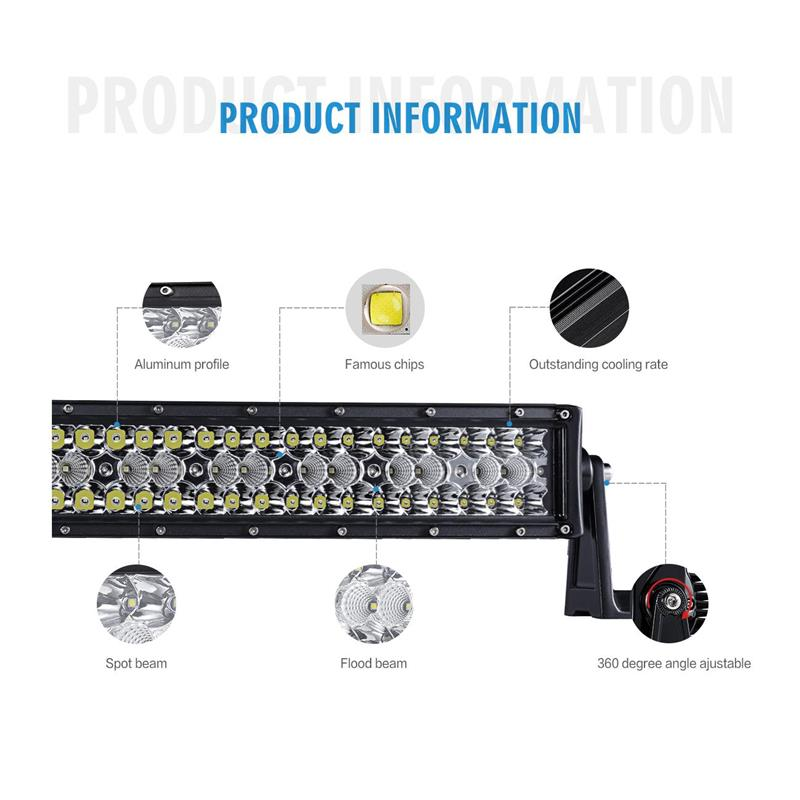 Auxmart Tri-Row 14 22 32 42 52 50 Straight LED Light Bar Offroad Combo Beam Bar Light Truck Trailer Camper 4X4 4WD ATV SUV