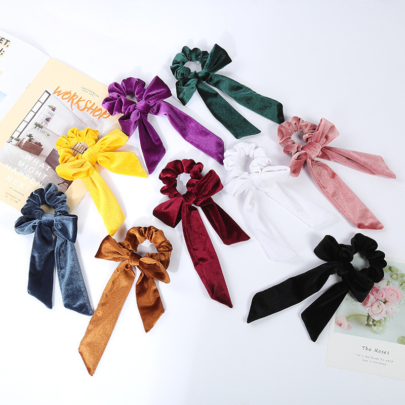 New Arrival Fashion Women Solid Velvet Hair Bands DIY Knot Bow Hair Scrunchies Girl's Hair Tie Accessories Ponytail Holder